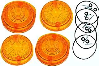 4 STÜCK Blinkerkappe rund für MZ TS und ETZ orange mit E Prüfzeichen