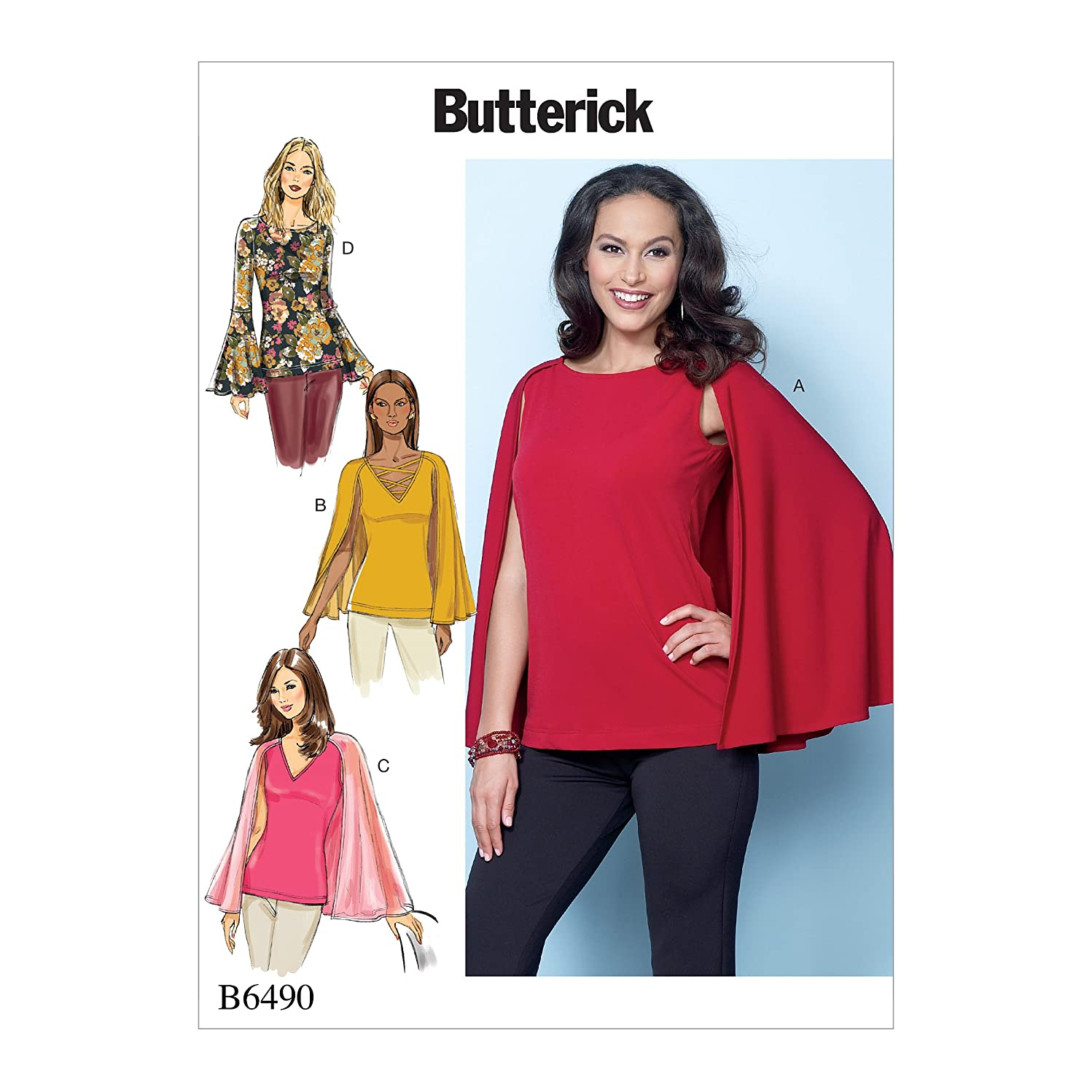 Butterick Patterns B6490E50 Misses' Tops with Attached Cape and Sleeve Variations, E5 (14-16-18-20-22)