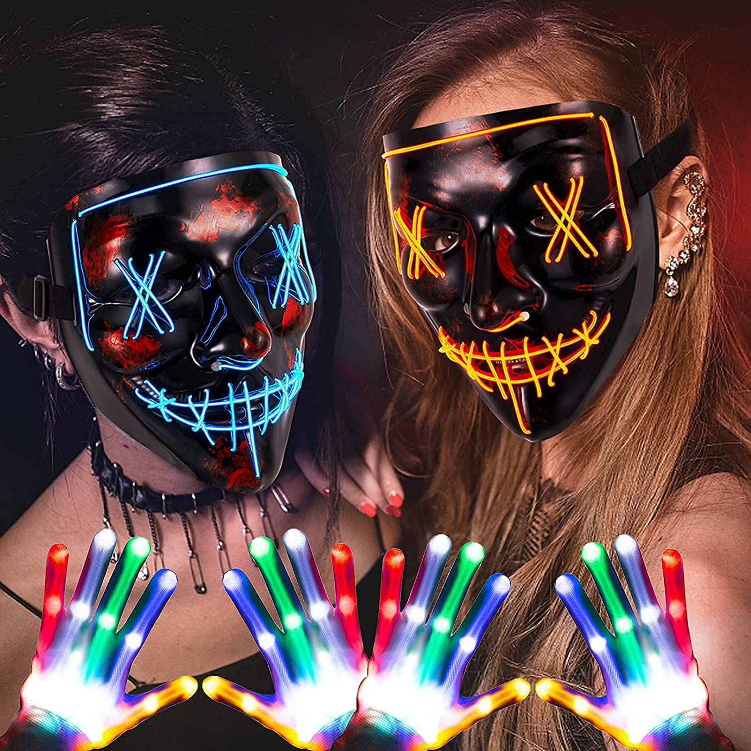 ThinkMax 2 Limited time cheap sale Pack Halloween Ranking integrated 1st place Masks Led fo Light Gloves and Up
