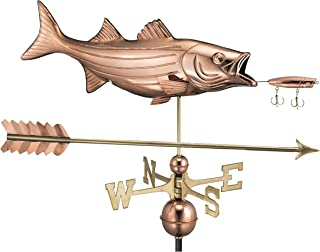Good Directions Bass with Lure and Arrow Weathervane, Pure Copper, Fish