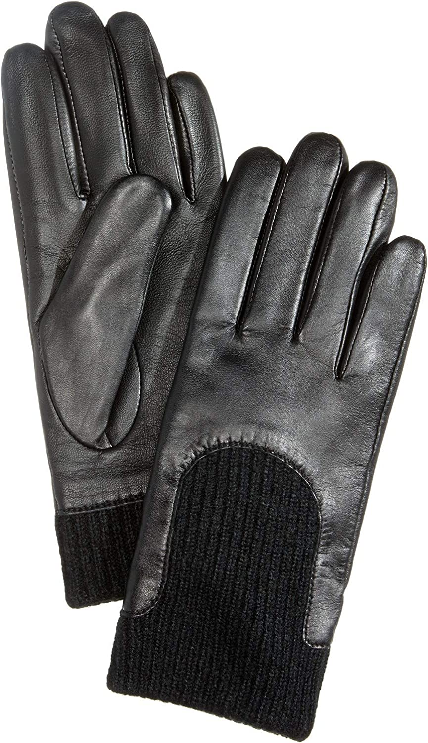 Charter Club Leather & Knit Touchscreen Gloves - Black, Medium