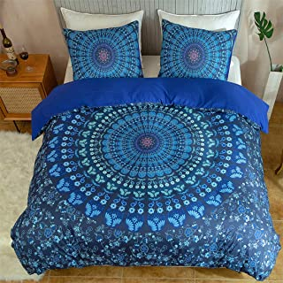 Argstar 3 Pcs Mandala Duvet Cover King, Blue Retro Bohemian Bedding Set, 3D Chic Circles and Floral Comforter Cover, 100% ...