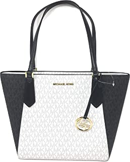 Michael Kors Kimberly Small Bonded Tote PVC Leather Shoulder Bag Bright White
