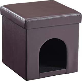 Hodedah Faux Leather Collapsible Pet Ottoman in Brown