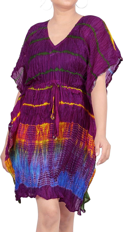 LA LEELA Women's Bathing Suit Cover Up for Beach Pool Swimwear Silk Cover Dress US 16-32W Pink_H519