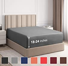 Extra Deep Pocket Fitted Sheet - Single Fitted Sheet Only - Extra Deep Pockets Queen Size Sheets - Fits 18 In to 24 In Mattress - Extra Deep Queen Fitted Sheet - Deep Pockets that Actually Fits