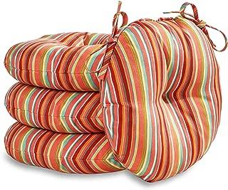 South Pine Porch AM6816S4-WATERMELON 15-inch Round Outdoor Bistro Chair Cushion, Set of 4, Watermelon Stripe