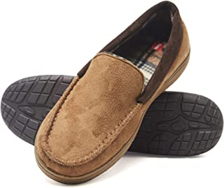 Men's Moccasin Slipper House Shoe with Indoor Outdoor Memory Foam Sole Fresh IQ Odor Protection