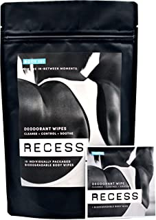 RECESS BODY 101 | Aluminum Free Deodorant Body Wipes (15-Pack) To Remove Sweat, Dirt & Odors | Lightly Scented With A Hint Of Fresh Verbena and Coconut Deodorizing Wipes