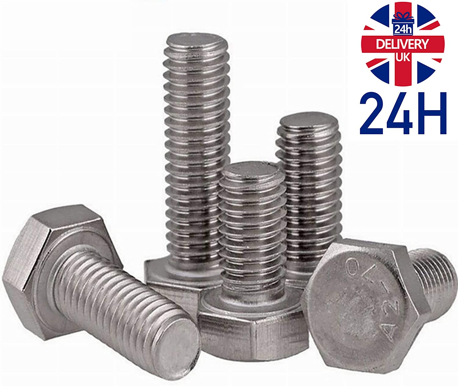 PACK of 10 Stainless Steel A2 DIN 933 Metric Coarse Hex Setscrews A2-70 304 //FREE 24H Delivery Hexagon Head Bolts Fully Threaded