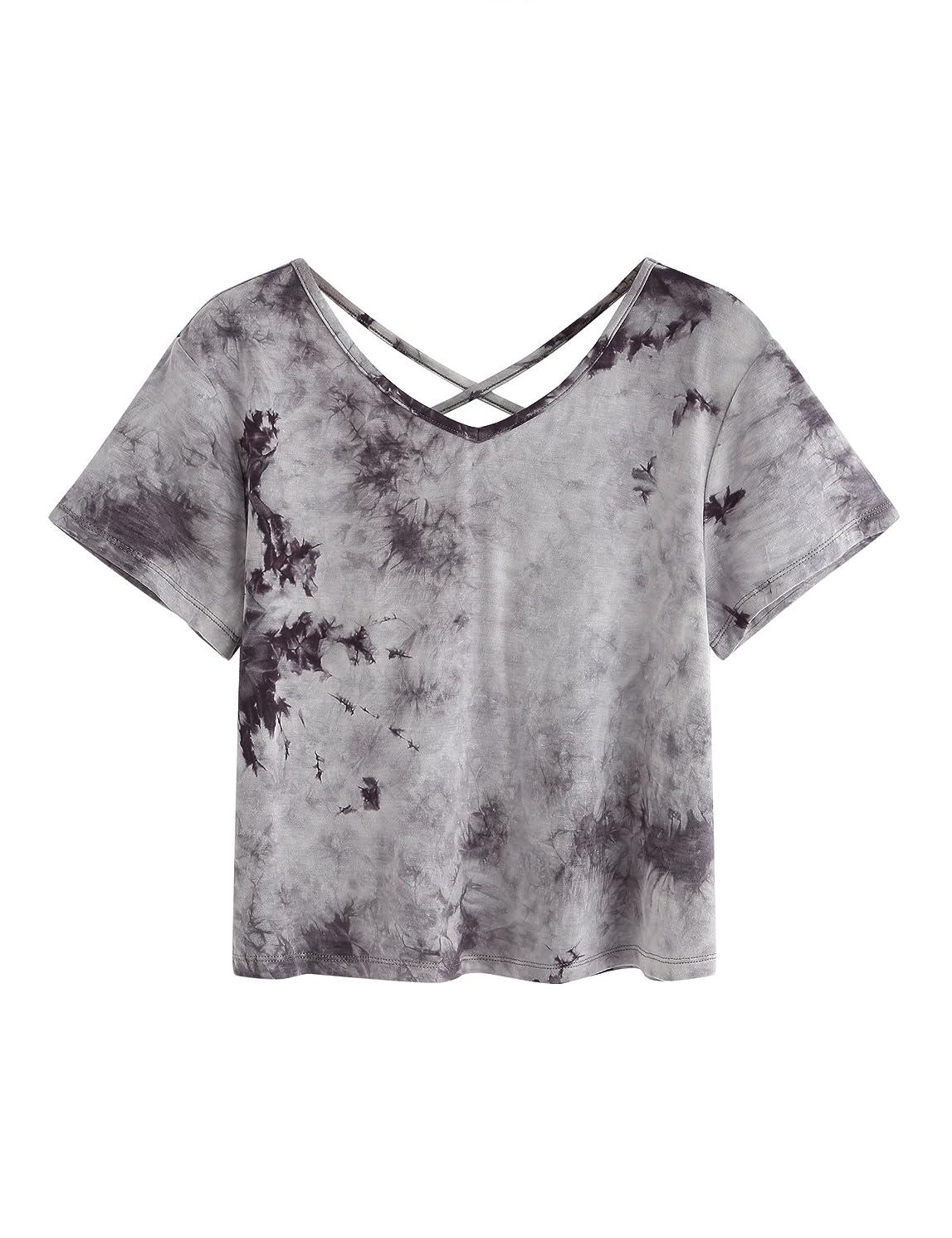 SweatyRocks Women's Tie Dye Criss Cross Back Short Sleeve Crop Summer T Shirt