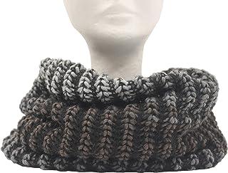Scaldacollo in maglia, sciarpa ad anello unisex stampato col. Nero-Grigio fatto in Italia Made in Italy