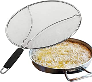 11.5'' Splatter Screen for Frying Pan Stops Hot Oil Splash,Stainless Steel Grease Guard Shield and Catcher,Fine Mesh,Prote...