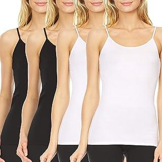 4 Pack: Women's Ultra Soft Modal Spandex Spaghetti Strap Sleeveless Ladies Long Strappy Basic Layering Camisole XS-3XL