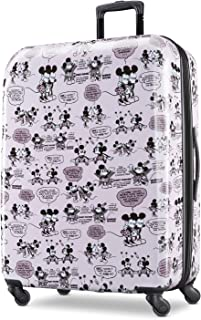 American Tourister Disney Hardside Luggage with Spinner Wheels, Mickey and Minnie Romance, Checked-Large 28-Inch