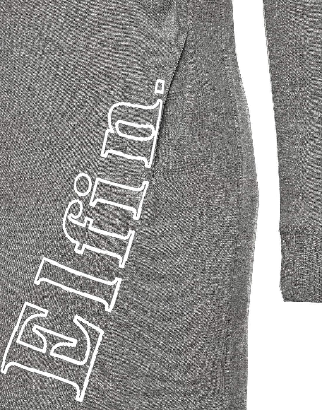 ELFIN Damen Sweatkleid Langarm Kleider Sweatshirt Dress Lässig Sportliche Longshirt Tops Minikleider mit Logodruck Herbst Dunkel Grau