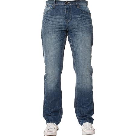 New Mens Enzo Regular Fit Straight Denim Blue Jeans Pants All Waist Sizes Light Stone Wash 32 W X32L