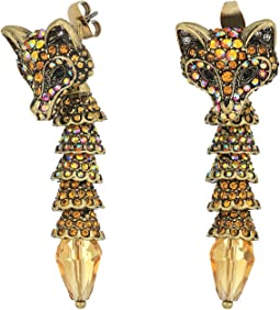 Betsey Johnson - Topaz and Gold Fox Front Back Earrings