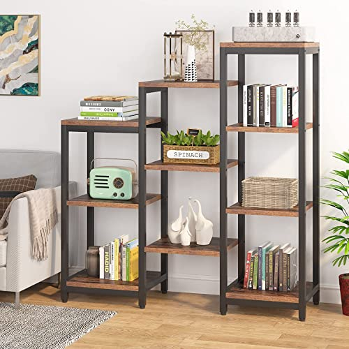 wholesale Tribesigns discount 4-Tier Bookshelves and Bookcases, Wooden Rustic Ladder Corner Bookshelf Open Step outlet online sale Bookcase, 7 Cubes Etagere Bookcase Storage Organizer Display Shelf Home Office outlet sale