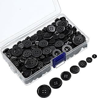 400 Piezas de Botones de Resina Redondos Botones de Artesanía de Costura con Caja de Almacenaje para Día de San Valentín, 2 y 4 Agujeros, Tamaños Variados (Negro)