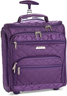 """16.5"""" Underseat Women Luggage Carry On Suitcase - Small Rolling Tote Bag with Wheels"""