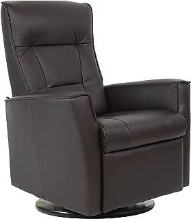 Fjords Ulstein Swing Relaxer Recliner Norwegian Ergonomic Scandinavian Lounge Manual Reclining Chair Furniture Nordic Line Dark Brown Havana Genuine Leather by Hjellegjerde