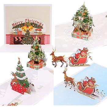 Auguri Di Natale Carini.Qpout 4pack Biglietti Di Auguri Di Natale 3d Pop Up Cartoline Di Natale Con Buste Babbo Natale Albero Di Natale Renna Carte Fatte A Mano Per Natale Regalo Natale Decorazione Di Capodanno