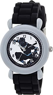MARVEL Boys Avenger Analog-Quartz Watch with Silicone Strap, Black, 16 (Model: WMA000235
