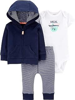 Carter's Baby Boy's 3-pc Sloth Bodysuit, Pants, and Zip-up Hoodie Set