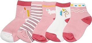 Calcetines tobilleros de unicornio con rayas rosas para bebé y niña.