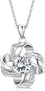 925 Sterling Silver Love Knot Necklace Crystals from Swarovski Eternal Love Pendant Elegant Crystals Necklace for Women, Wife, Lover Birthday Anniversary Gift with Box