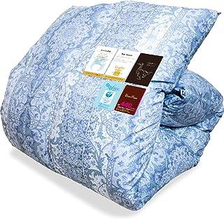 西川 シルク触感 最高級羽毛布団 シングル 羽毛量1.2kg【CH8510柄 ブルー色】 (ホワイトマザーグースダウン95% ダウンパワー440dp以上) 花粉フリー加工 日本製 3011100090478