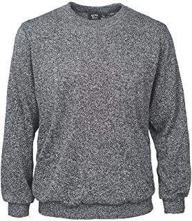 Akwa Men's Crew Neck Sweater 100% Polyester Terry Knit Elastic Cuffs Made in USA