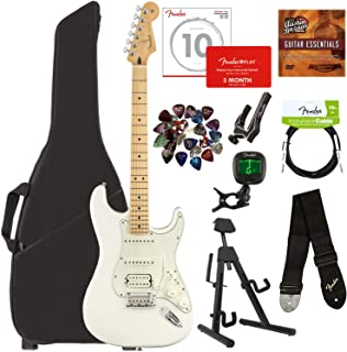 Fender Player Stratocaster HSS, Maple - Polar White Bundle with Gig Bag, Stand, Cable, Tuner, Strap, Strings, Picks, Capo, Fender Play Online Lessons, and Austin Bazaar Instructional DVD