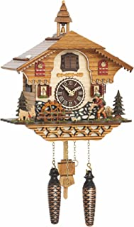 Trenkle Quartz Cuckoo Clock Black Forest House with Music, Moving Wanderer and Mill-Wheel TU 4216 QM