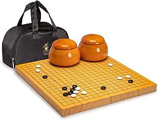 YMI - Go Japanese Game Board (Goban), Shin Kaya Wood with Double Convex Korean Glass Go Stones