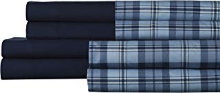 Elite Home Products 85GSM 2PACK Sheet Set-Prospect Heights Blue,Queen, Navy