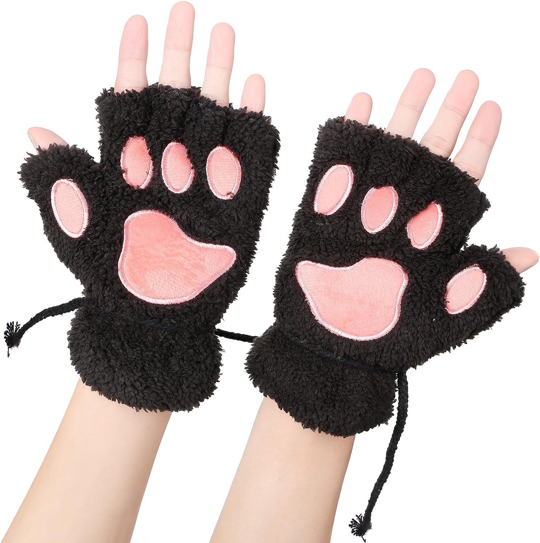Odema Womens Bear Plush Cat Paw Claw Glove Soft Winter Fingerless Mitten Gloves