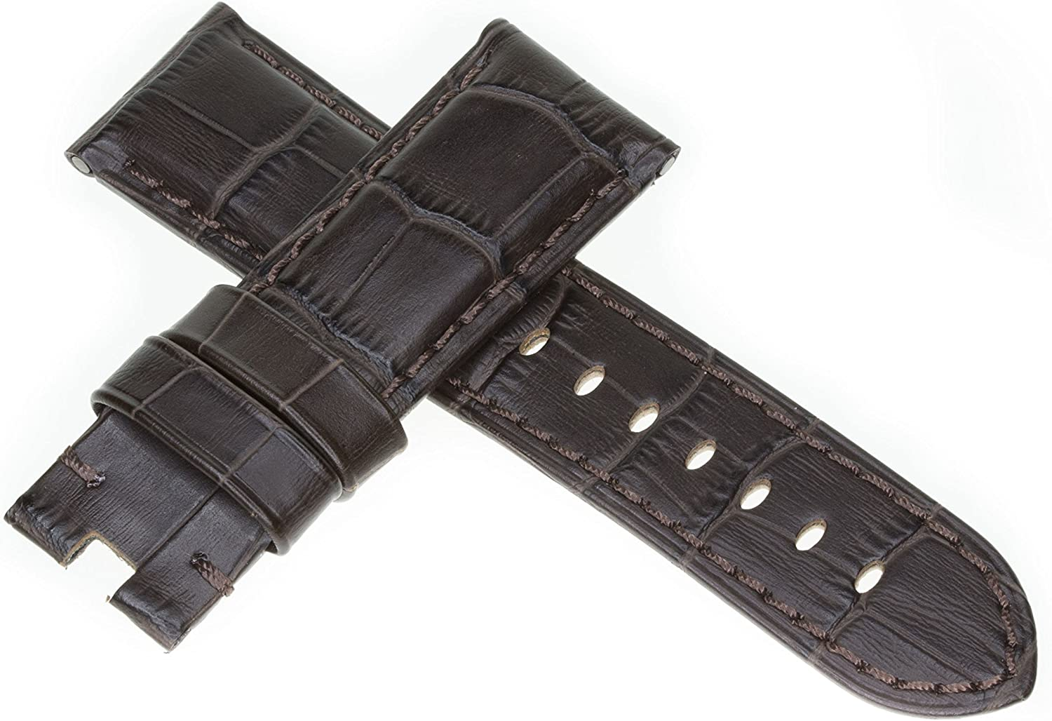 Factory outlet 26mm Grain Leather Strap Charcoal Deployment Watch Br Brown Band Max 46% OFF