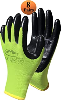 Nitrile Coated Safety Work Gloves - 8 Pair Pack, Textrured Grip, General Purpose and Gardening, for Men and Women, Green, Size Large Fits Most