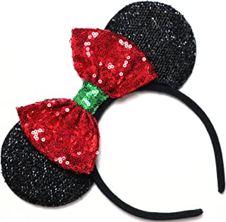 CLGIFT Christmas Mickey Ears, Holiday Mickey Ears, Christmas Minnie Ears, Red Minnie Ears, Rainbow Sparkle Mouse Ears,Classic Red Sequin Minnie Ears (Christmas red)