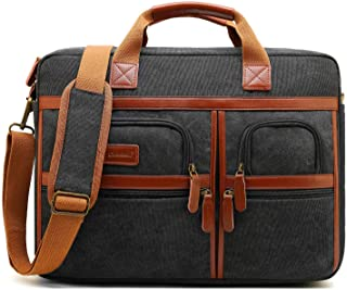 CoolBELL 17.3 Inches Laptop Messenger Bag Protective Shoulder Bag Canvas Business Briefcase Multi-Functional Computer Case for Men/Women/College/Office (Canvas Black)