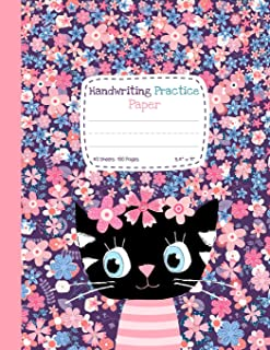 Handwriting Practice Paper: Blank Lined Notebook Primary Ruled With Dotted Midline, Cute Cat Composition Book for Kids from Kindergarten to 3rd Grade