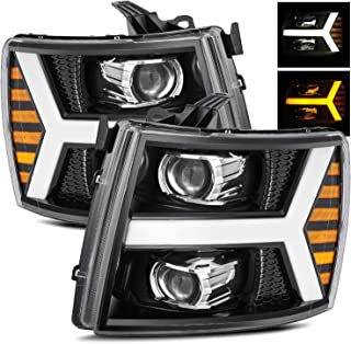AlphaRex Polished Black Fit 07-13 Chevy Silverado 1500/07-14 Silverado 2500HD/3500HD Switchback DRL/Signal LED Tube Dual Projector Headlights