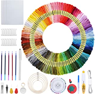 Longruner 215pcs Embroidery Starter Kit Inlcuded 100 Assorted Colors of Embroidery Floss 30 Embroidery Needles 5 Embroider...
