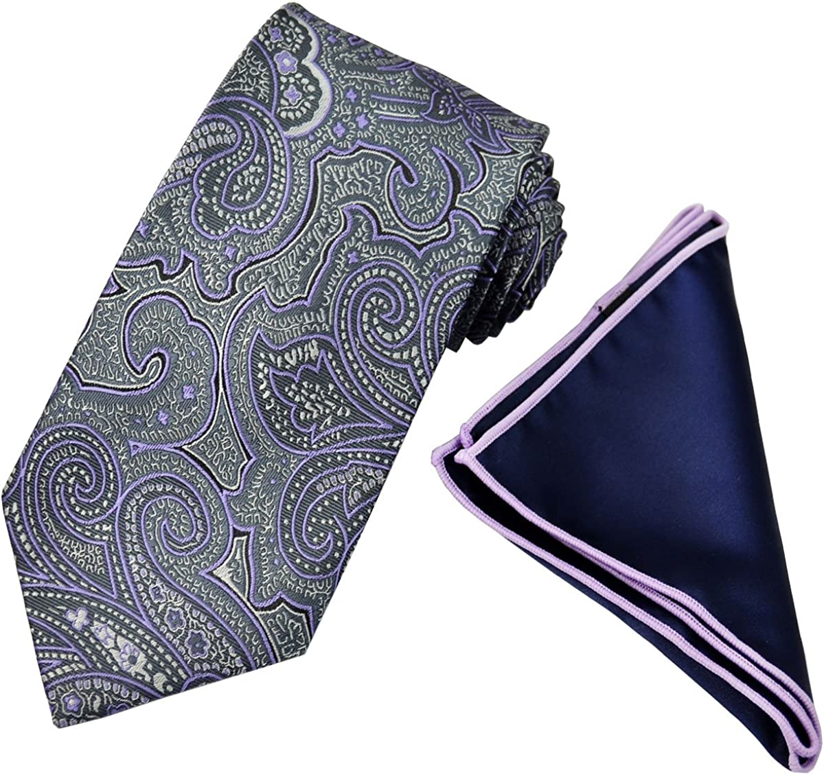 Purple Paisley Tie with Contrast Pocket Square Set
