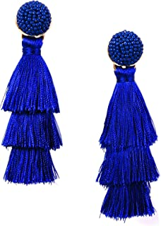 RIVERTREE Womens Layered Tassel Earring Beaded Boho Statement Fringe 3 Tiered Long Vintage Chandelier Drop Dangle Earring