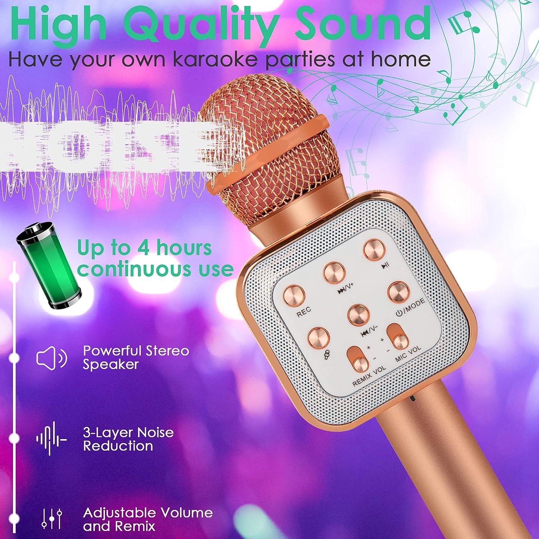 Noir Microphone Karaok/é Bluetooth pour Chanter Enfants Micro Bluetooth 5 en 1 Portable Lecteur Karaok/é avec Lumi/ères LED Microphone sans Fil Karaok/é Remix R/églable Radio FM