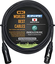 15 Foot – Quad Balanced Microphone Cable Custom Made by WORLDS BEST CABLES – Using Canare L-4E6S Wire and Neutrik NC3MXX-B Male & NC3FXX-B Female XLR Plugs.