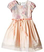 Us Angels - Printed Sequin Mesh Cap Sleeve Dress w/ Tulle Skirt (Toddler)